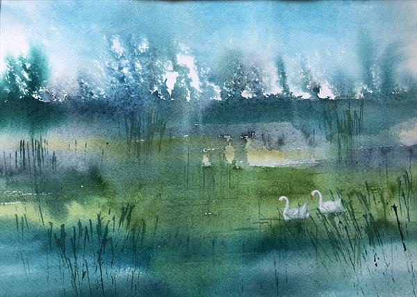 Swans in the mist by Jill Simpson
