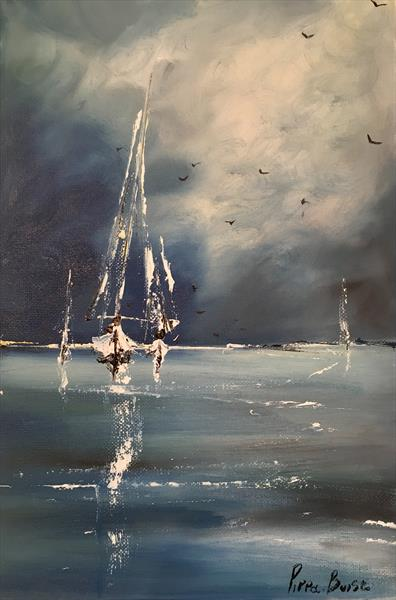Little sail against a blue sky by Pippa Buist
