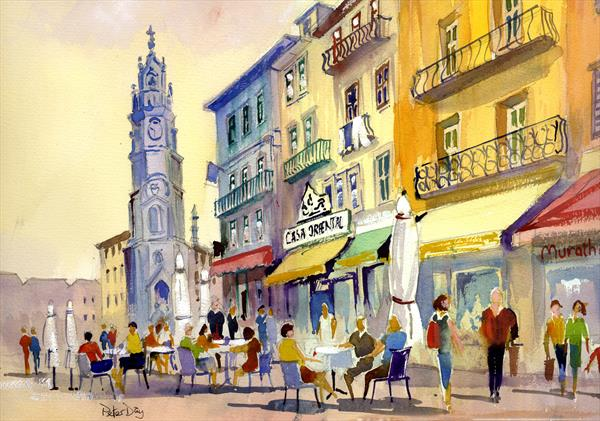 Portugal, Clerics Tower and Cafe, Porto by Peter Day