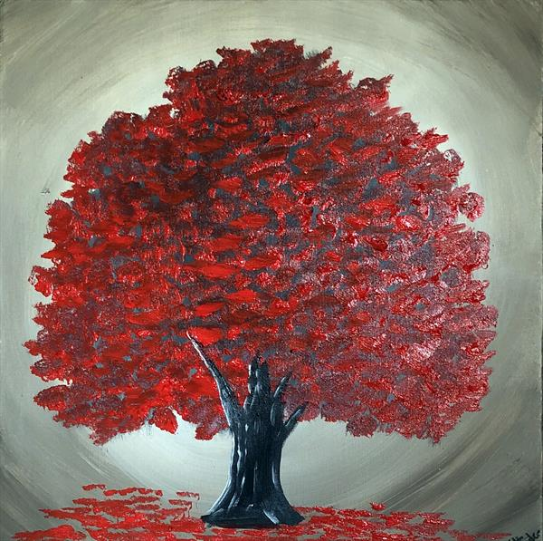 Magical Red Tree 5 by Aisha Haider