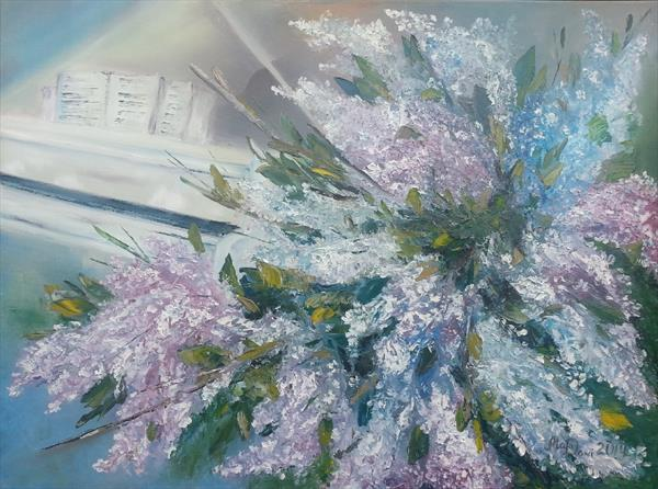 Oil, Lilac and White Grand Piano by Marina Daniluka