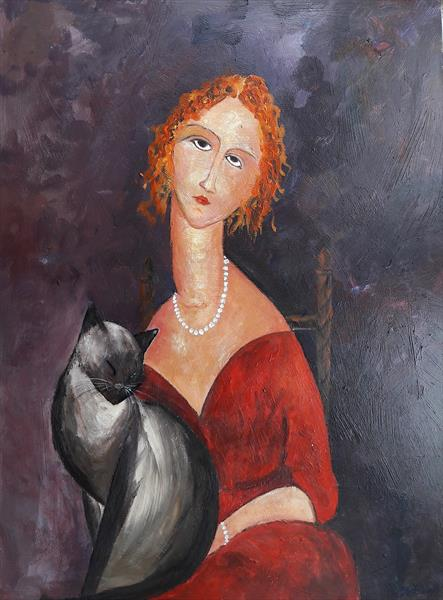 Woman Siamese cat by Teresa Tanner