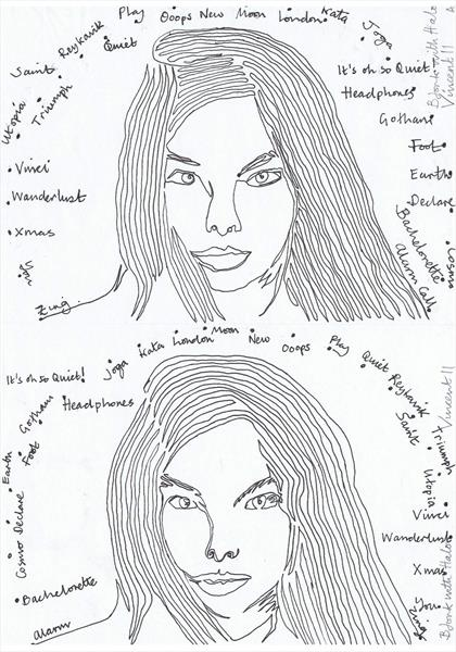 Drawing Project: Bjork with Halo by Vincent da Vinci