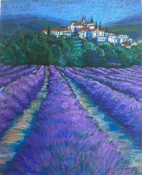 Small Lavender Fields framed ready to hang by Patricia Clements