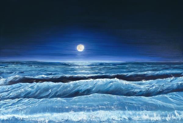 Moonlit sea by Victor White