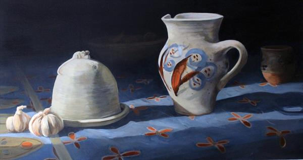 Still Life on Table Cloth on Board by Alex Jabore