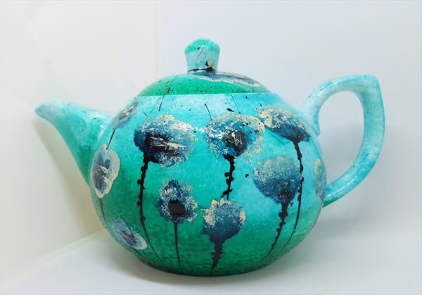 TORQUOISE POPPIES PORCELAIN TEAPOT by Cinzia Mancini