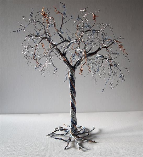 Silver, Copper & Blue Wire, Tree Sculpture  by Steph Morgan