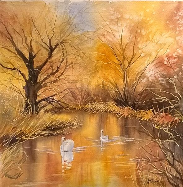 Winterglow on the river by Marlene Snee