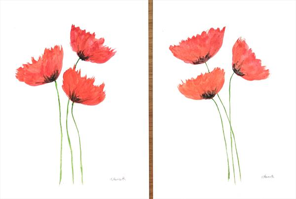 Poppies set of 2 by Monika Howarth