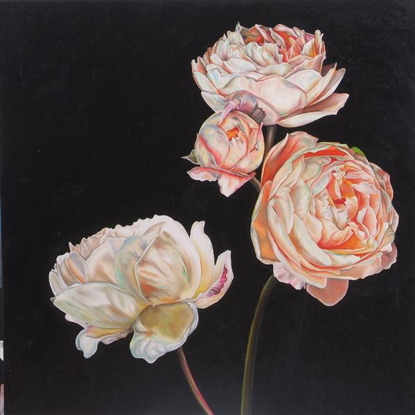Three Old English Roses by Natalie Toplass