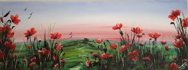 Red Poppies in a green field by Marja Brown