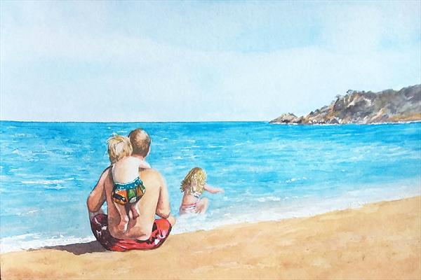Headland on Beach  - Commission by Maureen Crofts