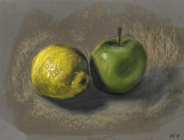 Still life, Apples and lemons in pastels by Kate Amedeo