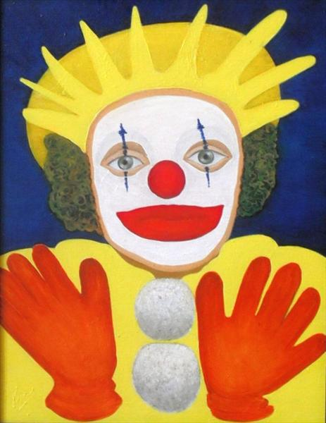 Bozo the Clown (Oil On Canvas) by Yvonne Jerrold