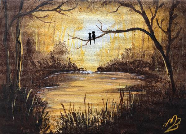 Lovebirds in the autumn on a mini canvas by Marja Brown