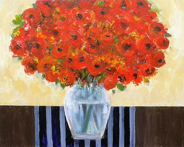 Red Flowers in a Glass Vase by Jan Rippingham