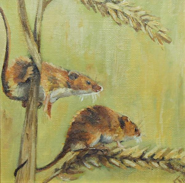Mice on Barley, Framed Oil Paintings (2016) by Alex Jabore