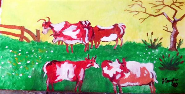 Cows  Framed in a gold frame by Frank Crompton