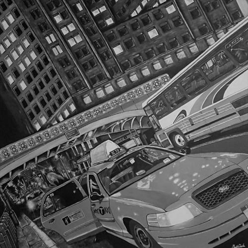 New York Black & White City Scene Canvas 1mx1m by Matt Dale