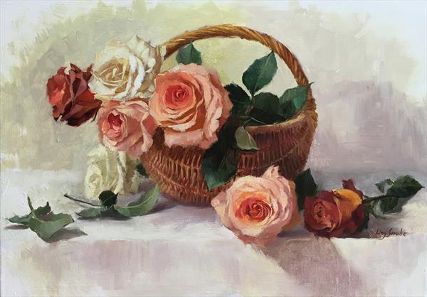 Rose Basket by Ling Strube