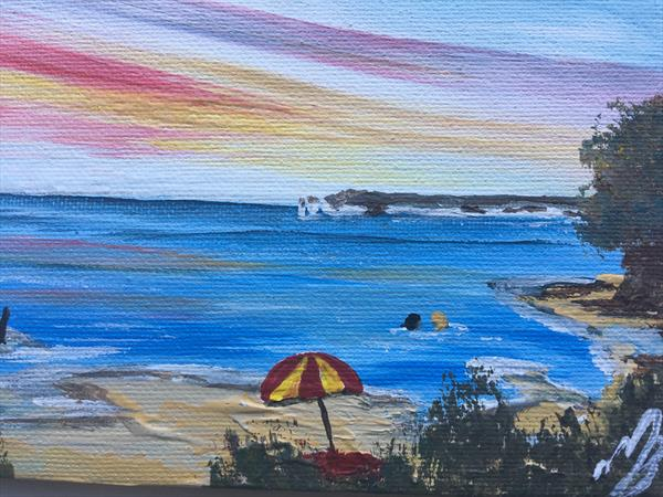 Red beach Umbrella on a mini canvas by Marja Brown