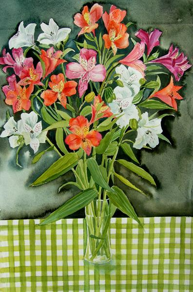 Freesias On Gingham by Mary Stubberfield