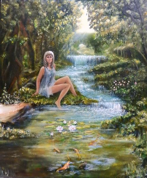 Beautiful nymph in the shade of trees (My sister) by Tatiana Wilson