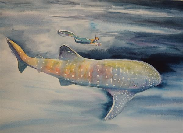 Open ocean deep blue sea tiger whale with diver Winsor & Newton Professional Artist watercolour pape by Elena Haines