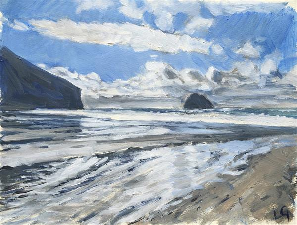 Trebarwith Strand Cornwall plein air painting by Louise Gillard