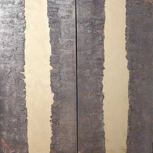 gold stripe rusty iron long textured abstract painting A275 by Ksavera Art