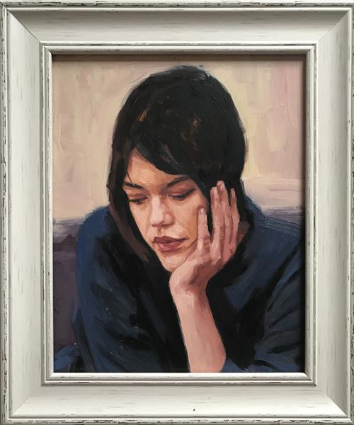 Pensive ( original framed oil painting ) by Christopher Gill