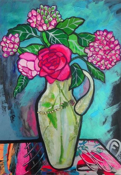 Rose and hydrangeas by K H Fagerholm