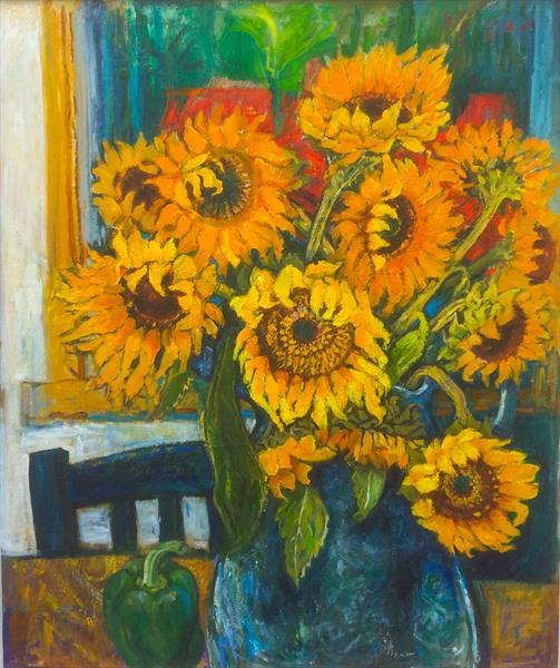 SUNFLOWERS WITH A GREEN PEPPER by Patricia Clements