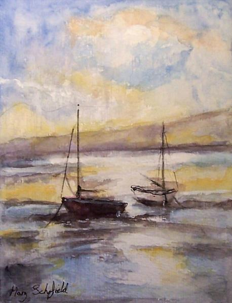 Sunset Boats by Mary Schofield
