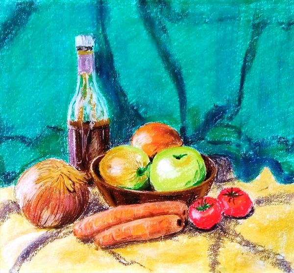 fruit and veg still life  by Maureen Lacey