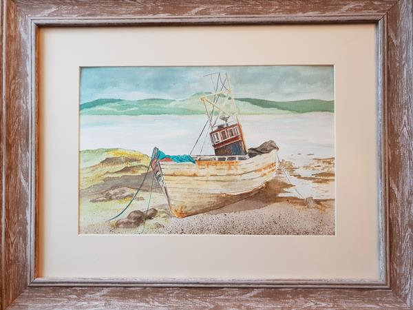 Fishing boat on sand by Petra Potgieter