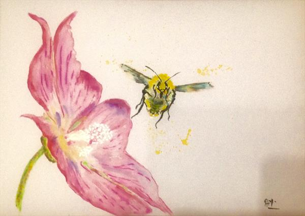 Bumblebee and Hibiscus syriacus Lavender Chiffon I by Anushree Mish