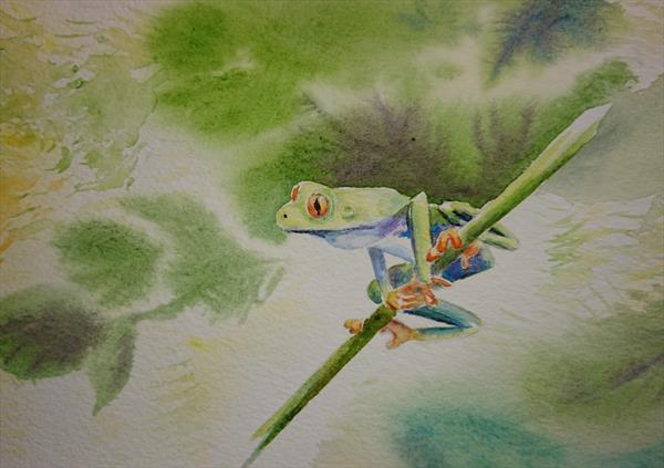 Tree Frog Winsor & Newton Professional  Artist watercolour paper A5 by Elena Haines