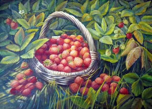 Basket with Strawberries by Oleg Riabchuk