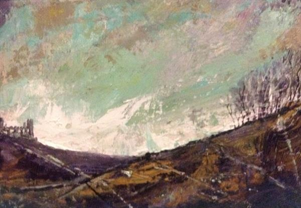 The Ruin - moorland landscape ( framed Original ) by Sarah Gill