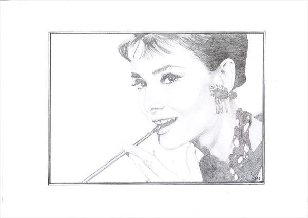 Audrey Hepburn in Pencil 2 by Angela O'Donnell