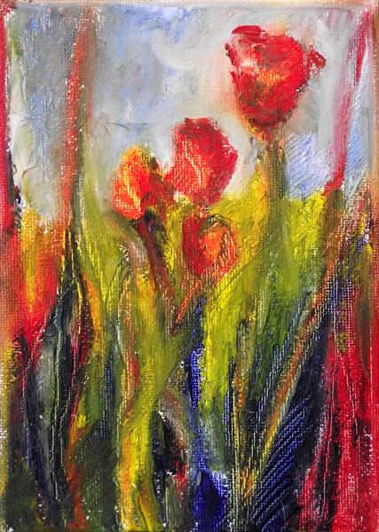 Red flowers by Gill Aitken