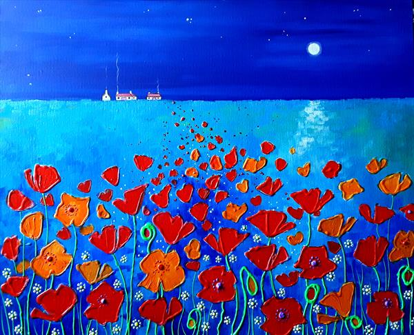 Moonlit Poppies by Angie Livingstone