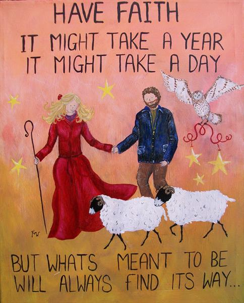 Have faith quote orange Wild shepherdess painting by kelly waddington