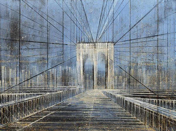 New York. The Brooklyn Bridge At Night by Marc Todd