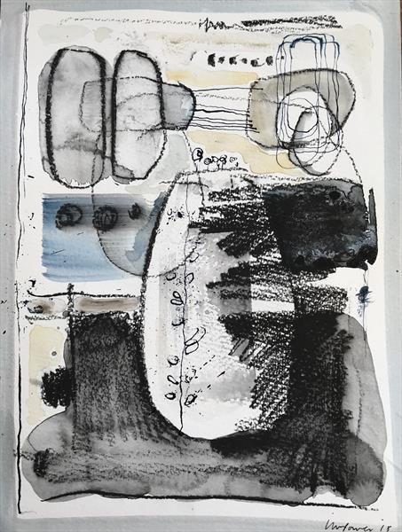 Sculpture garden - Expressive Abstract landscape, ink and watercolour by Luci Power