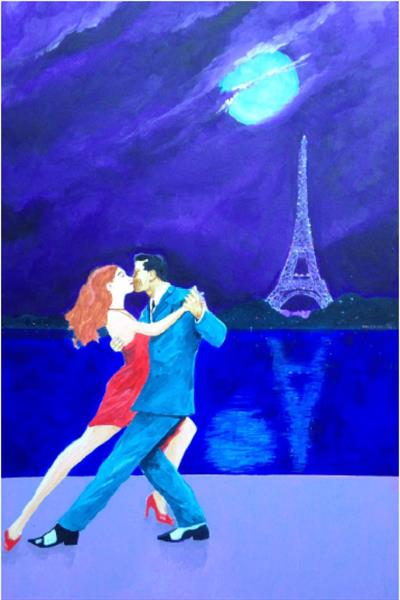 A Midnight Tango in Paris (large canvas) by David King