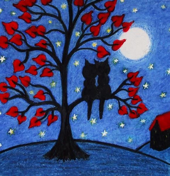 Romantic Cats in Tree (Framed) by Claudine Peronne