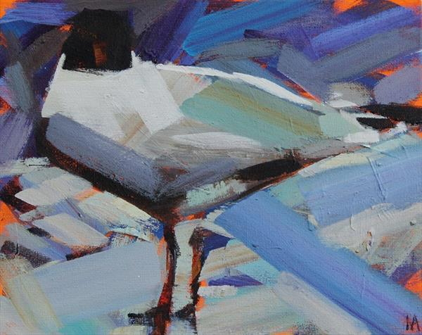 One Hooded gull  by Marie Antoniou